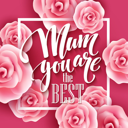 heart abstract: Happy Mothers Day lettering. Mothers day greeting card with Blooming Pink Rose Flowers. Vector illustration EPS10