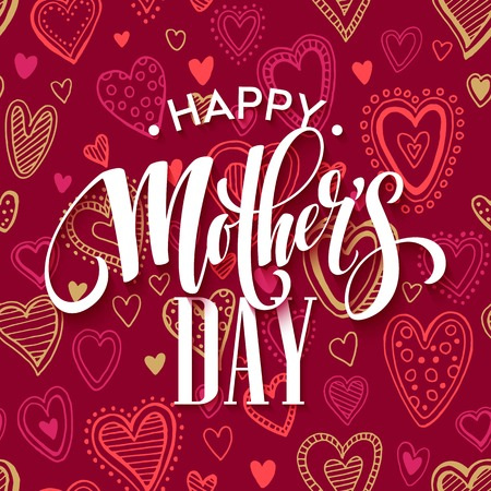 Mothers day lettering card with redseamless background and handwritten text message. Vector illustration EPS10 Фото со стока - 55891448