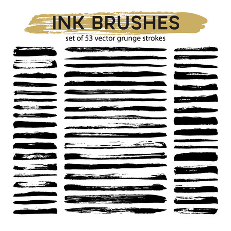 Large set of 53 different grunge ink brush strokes. Vector illustration EPS10