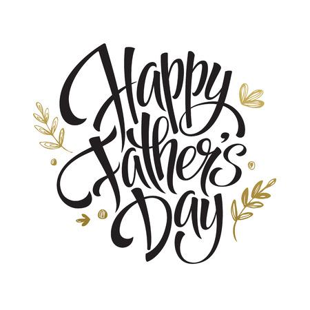 Carte de lettrage Golden Fathers Day. Calligraphie dessinée à la main. Illustration vectorielle EPS10 Vecteurs