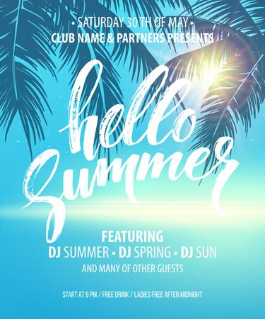 Hallo Summer Party Flyer. Vector Design EPS10 Stock Illustratie