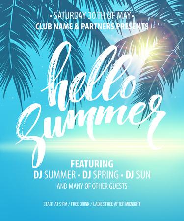 Hello Summer Party Flyer. Vector Design EPS10