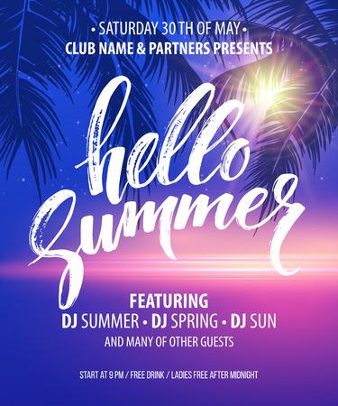 Hola Summer Party Flyer. EPS10 diseño vectorial