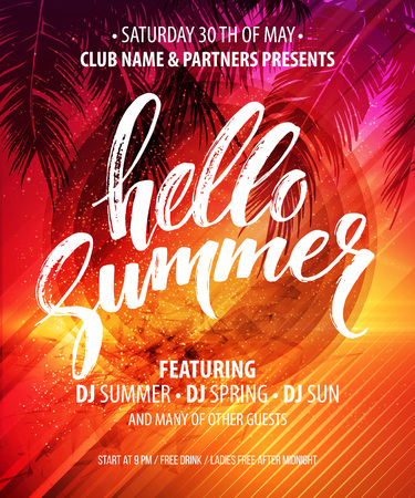 Hello Summer Party Flyer. Vector Design EPS10