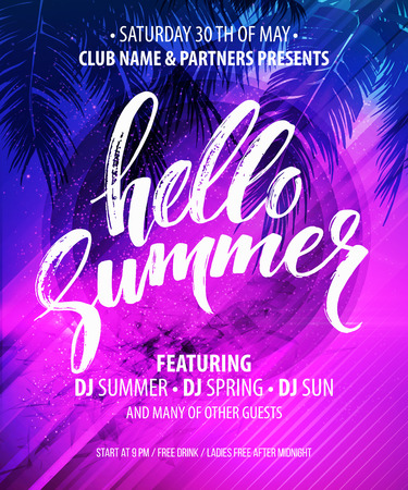 de zomer: Hallo Summer Party Flyer. Vector Design EPS10 Stock Illustratie