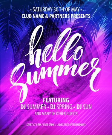 Hola Summer Party Flyer. EPS10 diseño vectorial Ilustración de vector