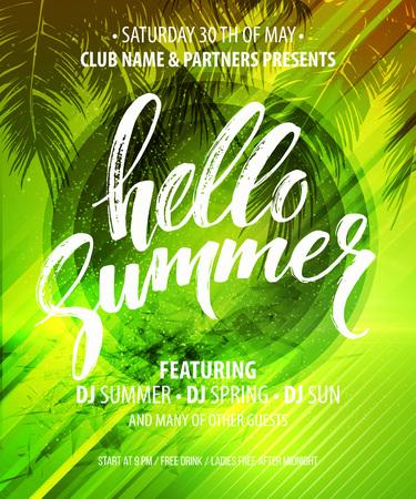 Hallo Sommer-Party-Flyer. Vector Design EPS10