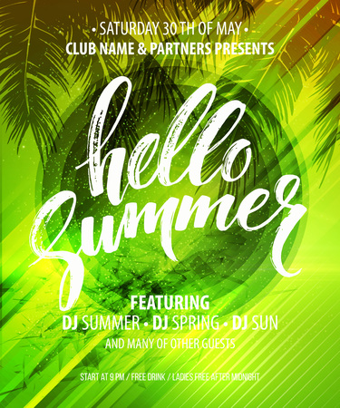 Hello Summer Party Flyer. Vector Design EPS10 Stok Fotoğraf - 56446414