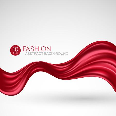 Red flying silk fabric. Fashion background. Vector illustration EPS10 Reklamní fotografie - 56522353