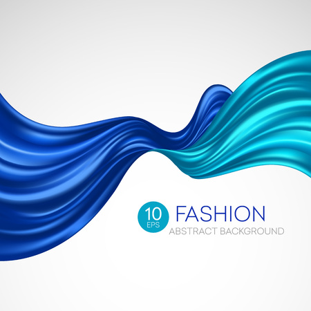 Tessuto di seta blu volante. Sfondo di moda. Illustrazione vettoriale EPS10