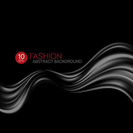 weave: Black flying silk fabric. Fashion background. Vector illustration EPS10