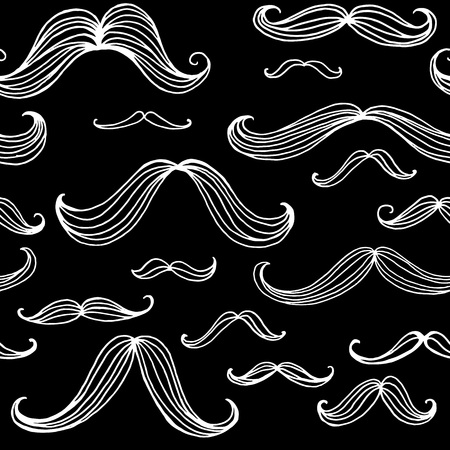 mustache: Mustaches seamless pattern. Hand drawn elements. Vector illustration EPS10