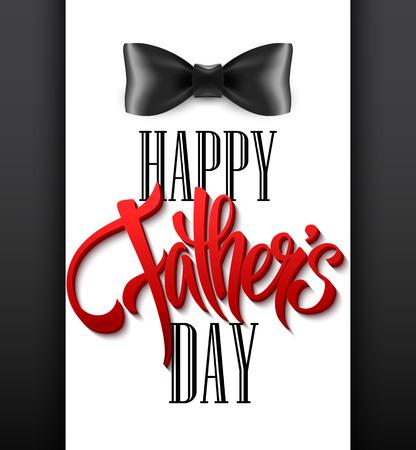Fond de fête des pères heureux avec lettrage de voeux et noeud papillon. Illustration vectorielle EPS10 Vecteurs