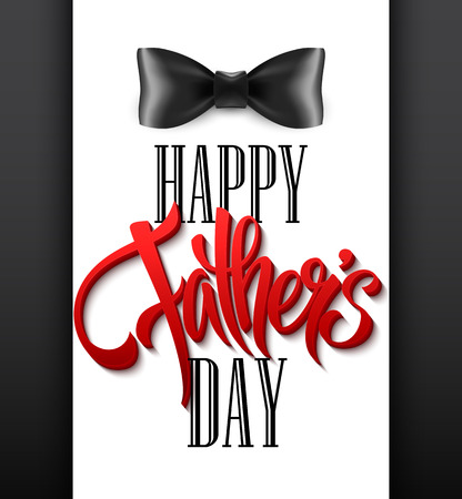 Happy fathers day background with greeting lettering and bow tie. Vector illustration EPS10 Illustration