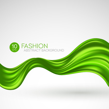 silk ribbon: Green flying silk fabric. Fashion background. Vector illustration EPS10