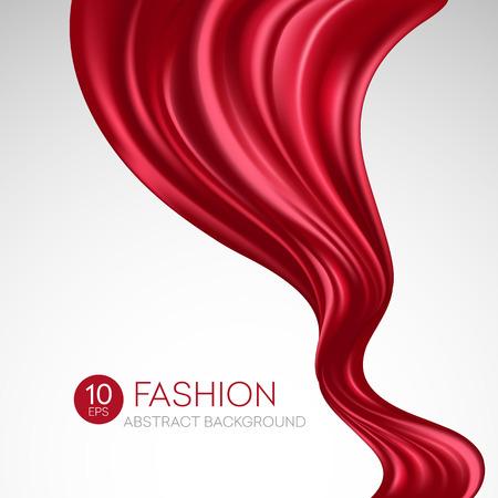 tela de seda rojo del vuelo. Fondo de la manera. ilustración vectorial EPS10