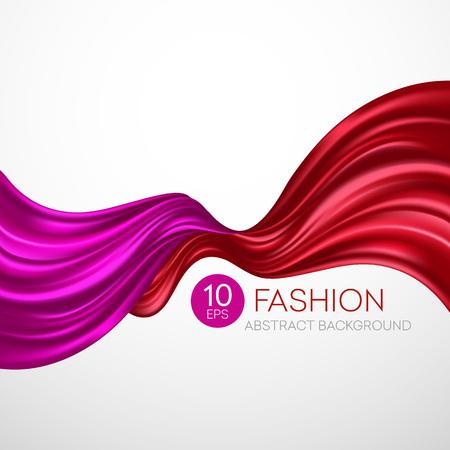 Red tessuto di seta volare. moda sfondo. Vector illustration EPS10 Vettoriali