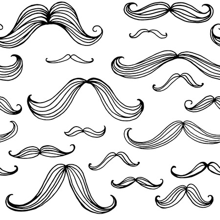 mustaches: Mustaches seamless pattern. Hand drawn elements. Vector illustration EPS10