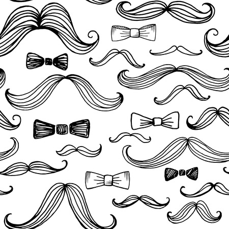 s tie: Bow Tie and Moustache Seamless Pattern. Vector illustration EPS10