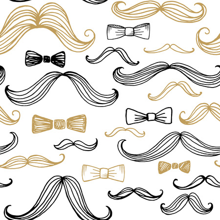 black bow: Bow Tie and Moustache Seamless Pattern. Vector illustration EPS10