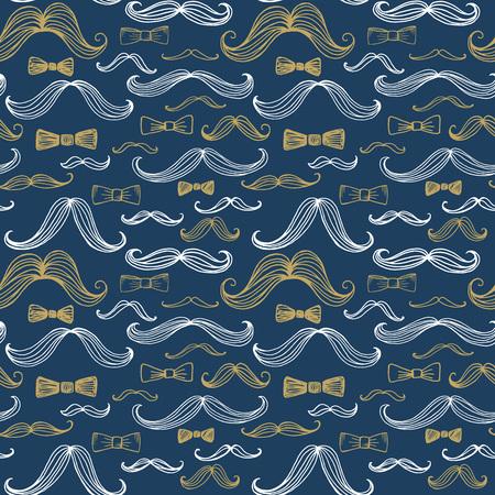 lazo regalo: Pajarita y sin fisuras patrón del bigote. ilustración vectorial EPS10