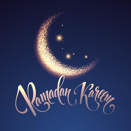 斋月kareem与月亮和星的问候刻字卡片。传染媒介例证eps10