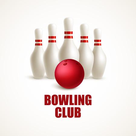 Red bowling ball and white skittles. Vector illustration EPS10 Vettoriali