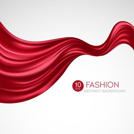 silks: Red flying silk fabric. Fashion background. Vector illustration EPS10