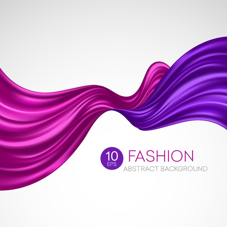 Red flying silk fabric. Fashion background. Vector illustration EPS10