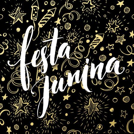 latin: Festa Junina party greeting design. Vector illustration EPS10