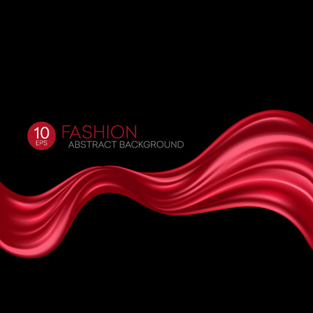 curtains: Red flying silk fabric. Fashion background. Vector illustration EPS10