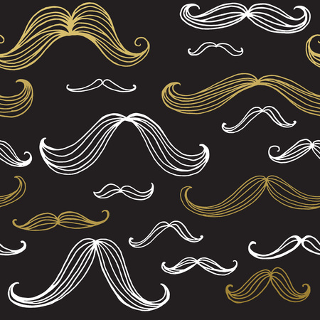black head and moustache: Mustaches seamless pattern. Hand drawn elements. Vector illustration EPS10