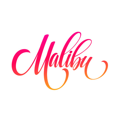 Malibu California handwriting lettering. Vector illustration EPS10