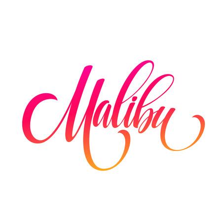 Malibu Californië handschrift belettering. Vector illustratie EPS10 Stock Illustratie