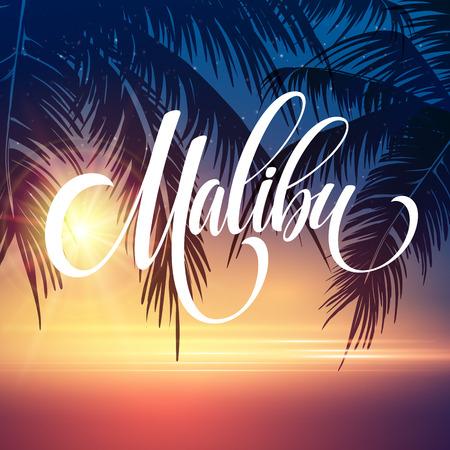 malibu: Malibu California handwriting lettering on the palm leaf tropical background. Vector illustration EPS10