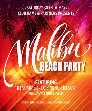 malibu: Malibu Beach Party poster. Tropical background. Vector illustration EPS10 Illustration