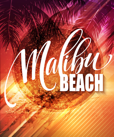 malibu: Malibu California handwriting lettering on the palm leaf tropical background. Vector illustration EPS10