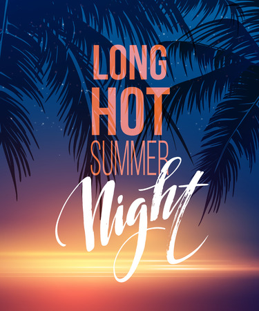 summer fun: Hot Summer Night Party Poster Design with typographic elements on the sea beach background . Vector illustration EPS10
