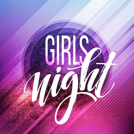 lady: Night Party Typography design. Vector illustration EPS10
