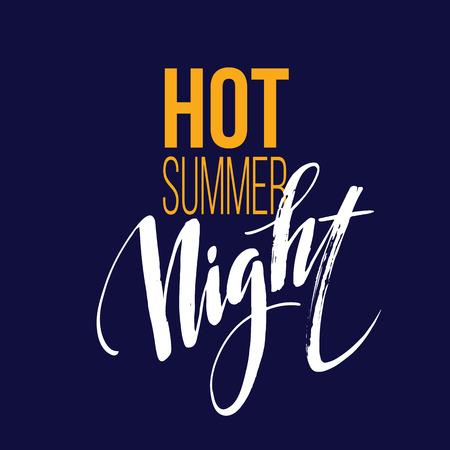 long night: Long Hot Summer Night Typography Design. Vector illustration EPS10