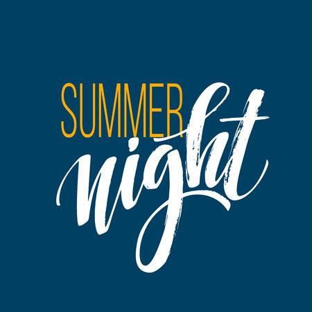長く熱い夏の夜のタイポグラフィ デザイン。ベクトル図 EPS10  イラスト・ベクター素材