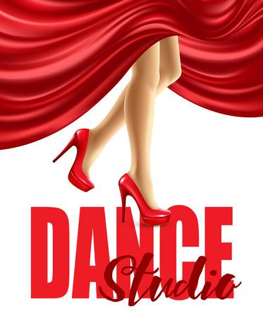 Affiche pour le studio de danse avec des jambes féminines en chaussures rouges et jupe gonflée. Vector illustration EPS10