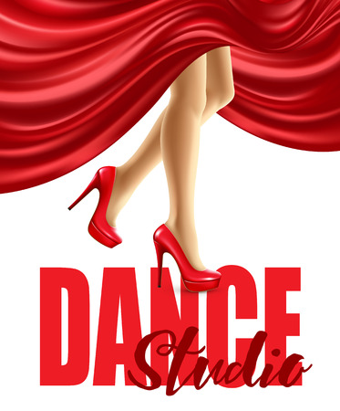 ballerina shoes: Poster for the dance studio with female legs in red shoes and skirt billowing. Vector illustration EPS10 Illustration