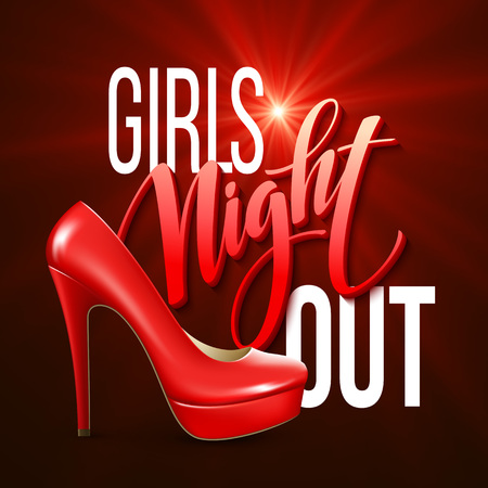 Girl Night Out Party Design. Vector illustration EPS10 Ilustracja
