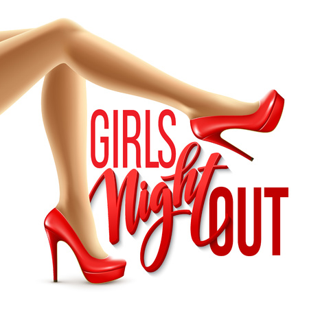 Girl Night Out Party Design. Vector illustration EPS10 Çizim
