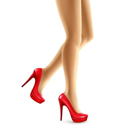 Ilustração do vetor dos pés fêmeas em sapatas vermelhas. Ilustração do vetor EPS10