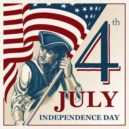 julio: Día de la Independencia - Cuatro de julio Vector vintage ilustración EPS10 Vectores