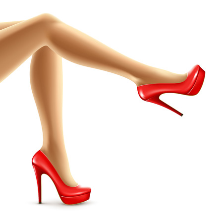 Vector illustration of female legs in red shoes. Vector illustration EPS10 Иллюстрация