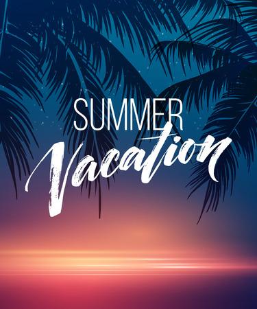 夏の休暇の手書き。タイポグラフィ、レタリング、書道。ポスターとチラシのデザイン テンプレート。ヤシの木と海の夏の風景です。ベクトル図 EPS