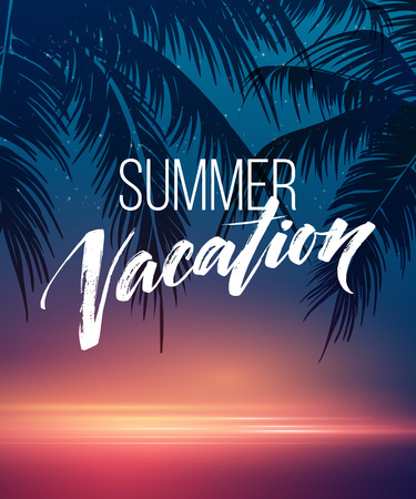 Summer vacation handwriting. Typography, lettering and calligraphy. Poster and flyer design template. Summer landscape with palm trees and sea. Vector illustration EPS10 Иллюстрация